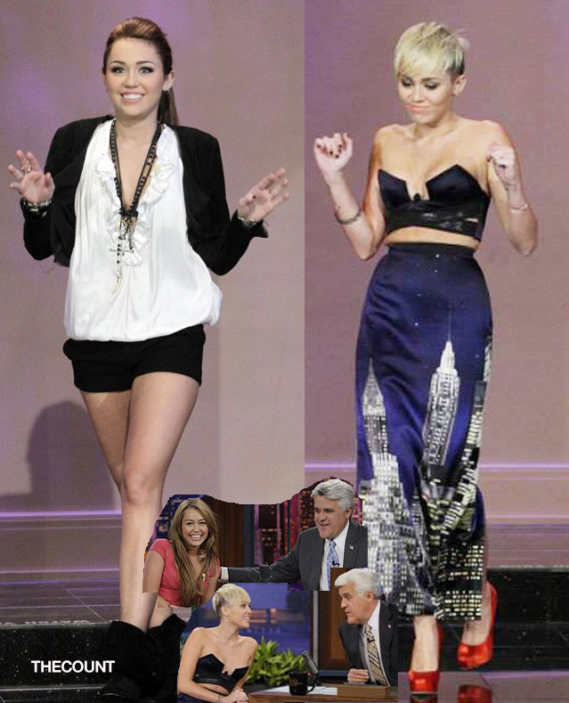 miley tonight show before and after Miley Cyrus Tonight Show BEFORE and AFTER