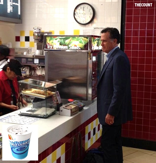 mitt McFlurry1 DOLLAR MENU MITT! Romney Spotted At McDonalds BEFORE Obama Lunch Date