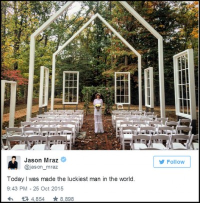 Jason Mraz shares photo of Christina Carano in wedding gown