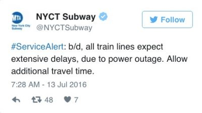 mta line power outage