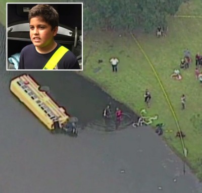 nicholas sierra school bus accident pond odessa 21 400x383 Boy 10 Saves 26 Kindergartners From Pond Full Of Alligators