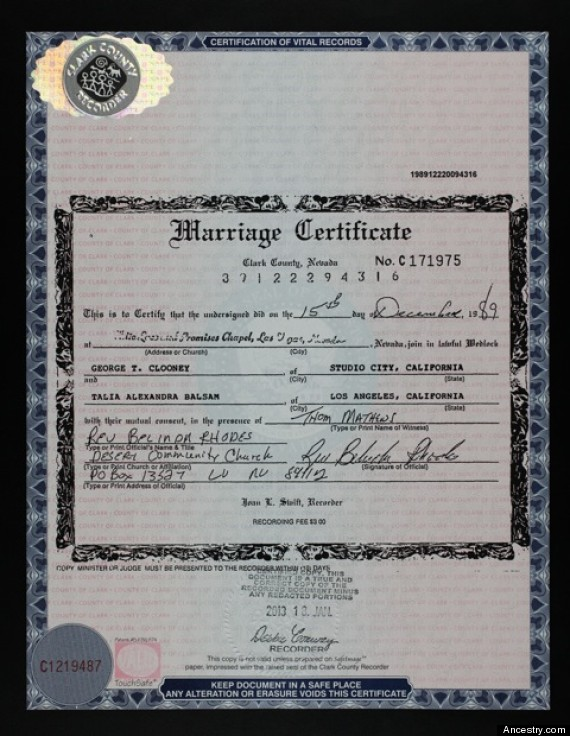 o GEORGE CLOONEY MARRIAGE 570 George Clooney LOST 20 Year Old Secret Marriage License FOUND