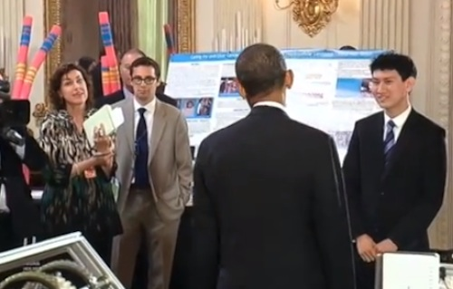 obama female reporter science fair