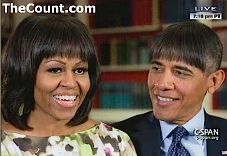 obama michelle funny bangs Michelle Obama: he's in the bathroom all the time