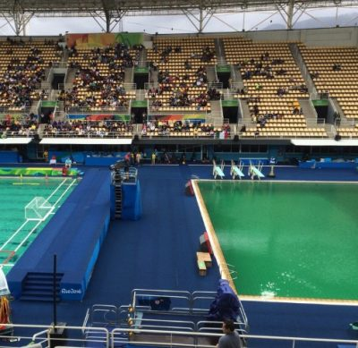 olympics pools green algae