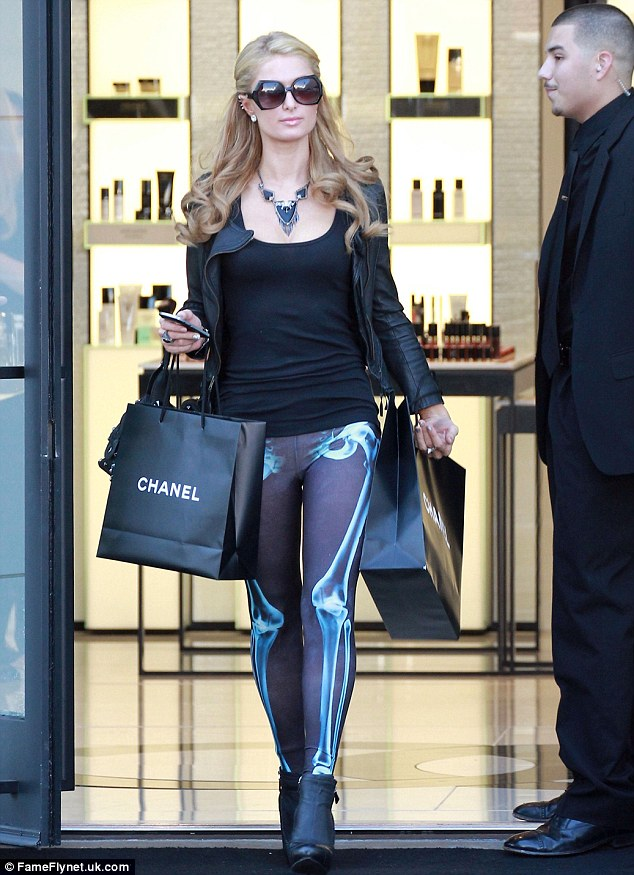 paris hilton bones leggins