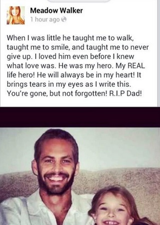 paul walker daughter meadow rain walker Paul Walker Daughter Heartbreaking Message My Real Life Hero