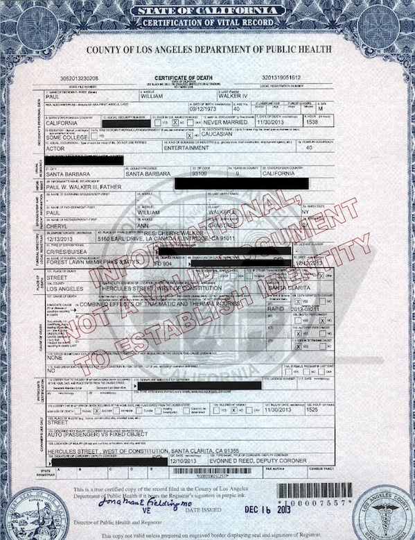 paul walker death certificate