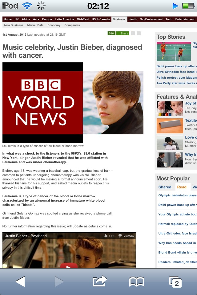 retracted article on justin bieber cancer scare