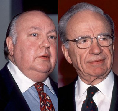 Rupert Murdoch names Roger Ailes as the head of Fox News, New York, New York, January 30, 1996. (Photo by Allan Tannenbaum/Getty Images)