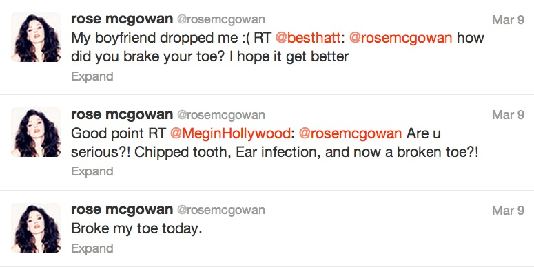 rose tweets Rose McGowan Tweets Ive Fallen and I Cant Get Up! BF Broke My Toe...