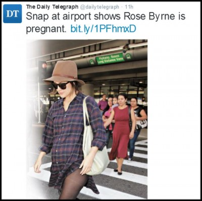 Rose Byrne baby bump photo on Twitter