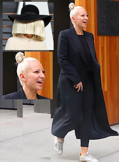 Chandelier singer sia shows her real face in public thecount sia without wig aloadofball Image collections