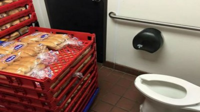 sonic hot dog buns in bathroom