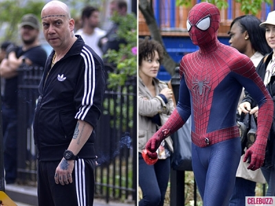 spider man andrew garfield paul giamatti 051013 400x300 First Look Paul Giamatti As Aleksei Sytsevich aka. The Rhino Amazing Spider Man 2