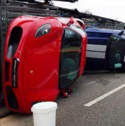 super car crash paris truck 1 400x401 If Your Supercar Didnt Arrive This Might Be The Reason