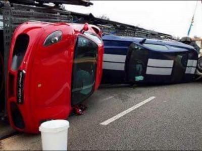 super car crash paris truck