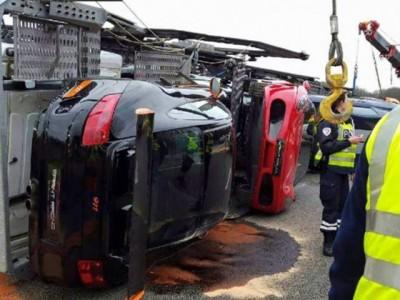 super car crash paris truck 8