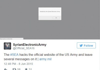 syrian army us army website hacked