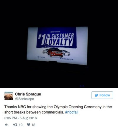 too many commercials olympics 2016