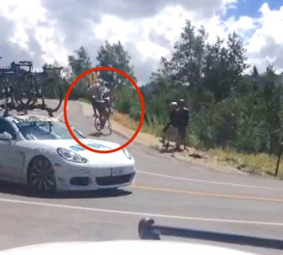 tour of utah Aaron Cengiz crash 21 400x361 Tour of Utah Cyclist T BONES PORSCHE In Serious Crash
