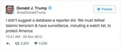 trump muslim database tweet