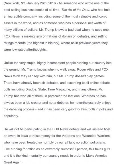 trump statement fox news debate