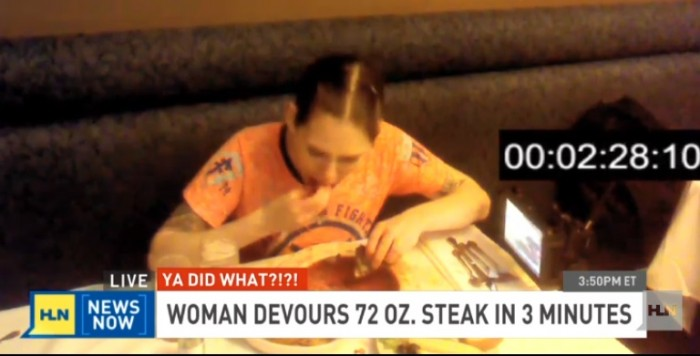 woman eats 72 oz steak 700x356 VIDEO: WOMAN Eats 72 oz. STEAK In Under 3 Minutes
