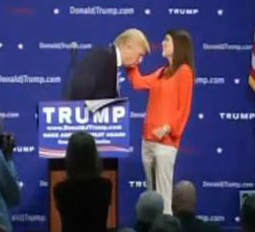 woman inspects trump hair Greenville Upstate1 Trump Invites Random Woman On Stage To Finally Prove THE HAIR IS REAL