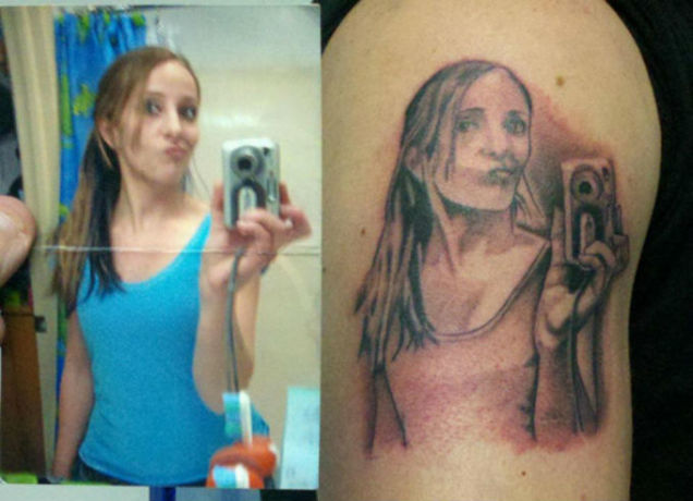 woman tattoos selfie